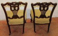 1920s Pair of Mahogany Nursing Chairs Green Upholstery (3 of 3)