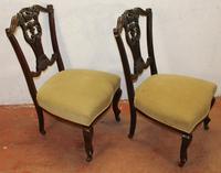 1920s Pair of Mahogany Nursing Chairs Green Upholstery (2 of 3)