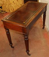 1900s Mahogany 2 Drawer Table with Red Leather Inset on Fluted Legs (4 of 4)