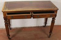 1900s Mahogany 2 Drawer Table with Red Leather Inset on Fluted Legs (2 of 4)