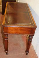 1900s Mahogany 2 Drawer Table with Red Leather Inset on Fluted Legs (3 of 4)