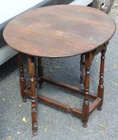 1800s Small Oak Gateleg Table with Drawer (4 of 4)