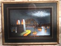 Sydney Harbour Bridge, Acrylic On Velvet