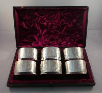 Set of Six Antique Silver Napkin Rings London 1888