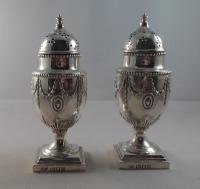 Top Quality Pair of Antique Solid Silver Adam Style Pepper Pots London 1897