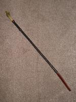 Antique Rolled Leather Riding Crop W/ Bovine Horn Dog's Head Top W/ Glass Eyes (2 of 14)