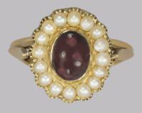 Antique Garnet & Natural Pearl Ring Mid Victorian 18ct Gold Ring C.1860