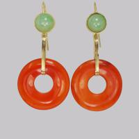 Vintage French Drop Earrings Carnelian & Jade 18ct Gold 1960s Dangle Earrings (3 of 8)