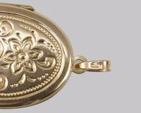 Vintage 9ct Yellow Gold Floral Patterned Locket Oval Engraved Hallmarked 1973 (6 of 7)