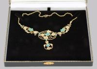 Victorian 15ct Gold Turquoise Necklace Antique Floral Scroll Necklace c.1860 (7 of 10)