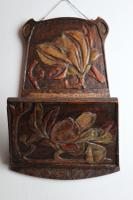 Arts & Crafts / Art Nouveau Floral Aesthetic Letter / Newspaper RAck Pokerwork & Carved, Wall Hanging - Dated / Etched 1906