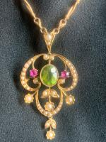 Art Nouveau, 15ct Gold, Peridot, Ruby & Seed Pearl Pendant (Combination Brooch) with 15ct Elaborate Naturalistic Ropework Chain, Suffragette Colours (3 of 28)