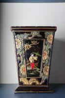 Art Deco Era 1920s Chinoiserie Jardiniere / Planter, Chrysanthemum Motif, Ebonised Carved Wood & Painted Gilt Decoration 'Chinese Ebonised'