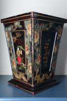 Art Deco Era 1920s Chinoiserie Jardiniere / Planter, Chrysanthemum Motif, Ebonised Carved Wood & Painted Gilt Decoration 'Chinese Ebonised' (8 of 25)