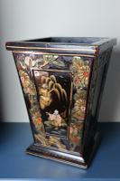 Art Deco Era 1920s Chinoiserie Jardiniere / Planter, Chrysanthemum Motif, Ebonised Carved Wood & Painted Gilt Decoration 'Chinese Ebonised' (11 of 25)