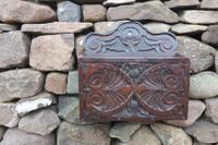 19th Century Scottish Carved Oak Candle Pocket / Box Thistle & Owl Design Motif, Wall Hanging c.1820