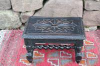 19th Century / Victorian Carved Ebonised & Barley Twist Turned Wooden Footstool c.1860