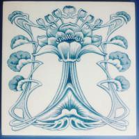 Art Nouveau English Marsden Tile Co. Ltd - Floral / Naturalistic Design Decorated Blue & White Tile c.1900