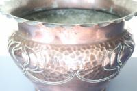 Art Nouveau / Arts & Crafts Copper Jardiniere, Stylised Floral Decoration / Pie-Crust Lip c.1900 (14 of 21)