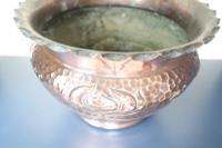 Art Nouveau / Arts & Crafts Copper Jardiniere, Stylised Floral Decoration / Pie-Crust Lip c.1900 (17 of 21)