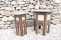 Pair of Ottoman Occasional Tables, Octagonal, Ebonised, Inlay & Mother of Pearl c.1900