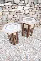Pair of Ottoman Occasional Tables, Octagonal, Ebonised, Inlay & Mother of Pearl c.1900 (12 of 33)
