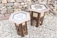 Pair of Ottoman Occasional Tables, Octagonal, Ebonised, Inlay & Mother of Pearl c.1900 (8 of 33)