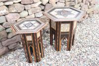 Pair of Ottoman Occasional Tables, Octagonal, Ebonised, Inlay & Mother of Pearl c.1900 (3 of 33)