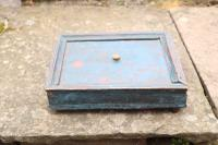 Scandinavian / Swedish Folk Art Original Paint Wooden Spice Box with a Sliding Draw Lid & Sections c.1800