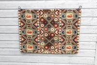 "Scandinavian / Swedish 'Folk Art' Skåne Region, Large Woven Röllakan ""Agedyna"" Cushion Cover, Floral & Geometric Pattern c.1925 (19 of 20)"