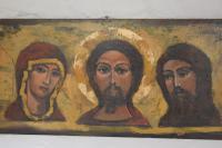 20th Century Oil on Panel Byzantine Style 12th Century Russian Orthodox Deesis