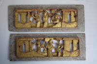 Chinese Carved Wooden Lacquered Gilt Panels Depicting Temple Scenes