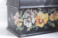 Miniature Victorian Black Lacquer Jewellery Casket with Painted Pansies (9 of 10)
