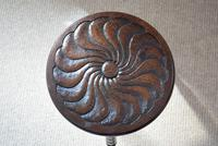 Small Oak Occasional Table with Carved Circular Top (8 of 10)