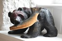 Carved Wooden Bear with Salmon Ainu Japan (2 of 10)