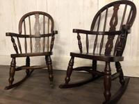 Pair of Childrens Elm Rocking Chairs (3 of 7)