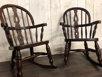 Pair of Childrens Elm Rocking Chairs (2 of 7)
