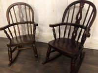 Pair of Childrens Elm Rocking Chairs (5 of 7)