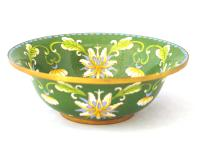 Fine Green Chinese Cloisonné Orchid Bowl