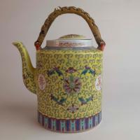 Vintage Mun Shou 'Longevity' Yellow Chinese Teapot