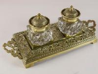 Victorian English Brass Double Inkstand