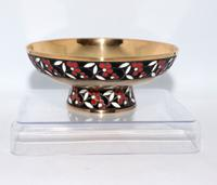 Russian Cloisonné Silver & Enamel Footed Bowl Marked 916
