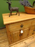 Unusual Antique Victorian Rustic Pine Sideboard Kitchen Island (16 of 17)
