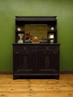 Art Nouveau Black Painted Sideboard Chiffonier Dresser with Mirrored Top, Gothic (11 of 19)