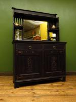 Art Nouveau Black Painted Sideboard Chiffonier Dresser with Mirrored Top, Gothic (13 of 19)