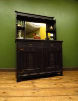 Art Nouveau Black Painted Sideboard Chiffonier Dresser with Mirrored Top, Gothic (14 of 19)