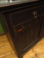 Art Nouveau Black Painted Sideboard Chiffonier Dresser with Mirrored Top, Gothic (15 of 19)