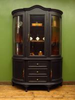Painted Black Bow Fronted Glazed Display Cabinet Dresser (13 of 16)