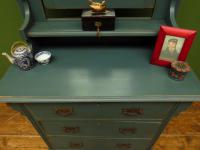 Antique Painted Blue Dressing Table Chest of Drawers, Bohemian Shabby Chic (14 of 14)