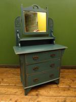 Antique Painted Blue Dressing Table Chest of Drawers, Bohemian Shabby Chic (8 of 14)
